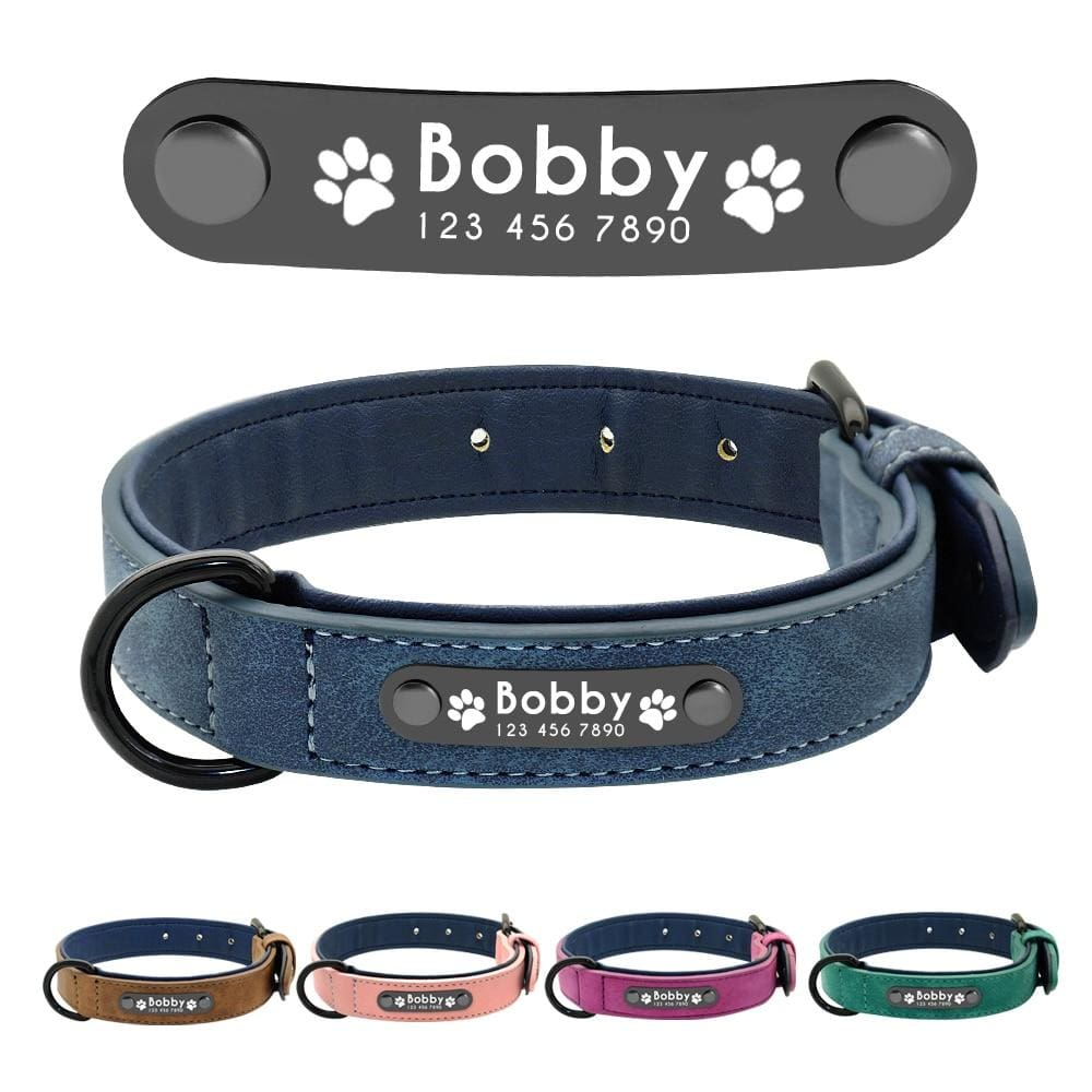 Personalized Custom Leather Dog Collar - Dog Collars, French bulldog leather collar