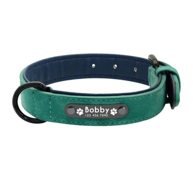 Personalized Custom Leather Dog Collar - Green - Dog Collars, French bulldog leather collar