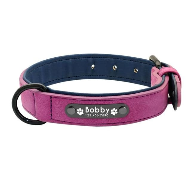 Personalized Custom Leather Dog Collar - Purple - Dog Collars, French bulldog leather collar