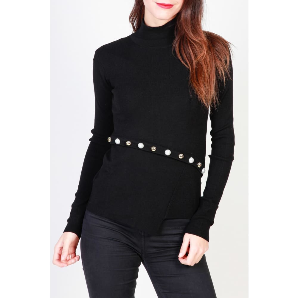 Pinko Asymmetrical Top - Black / Xs - Clothing Sweaters