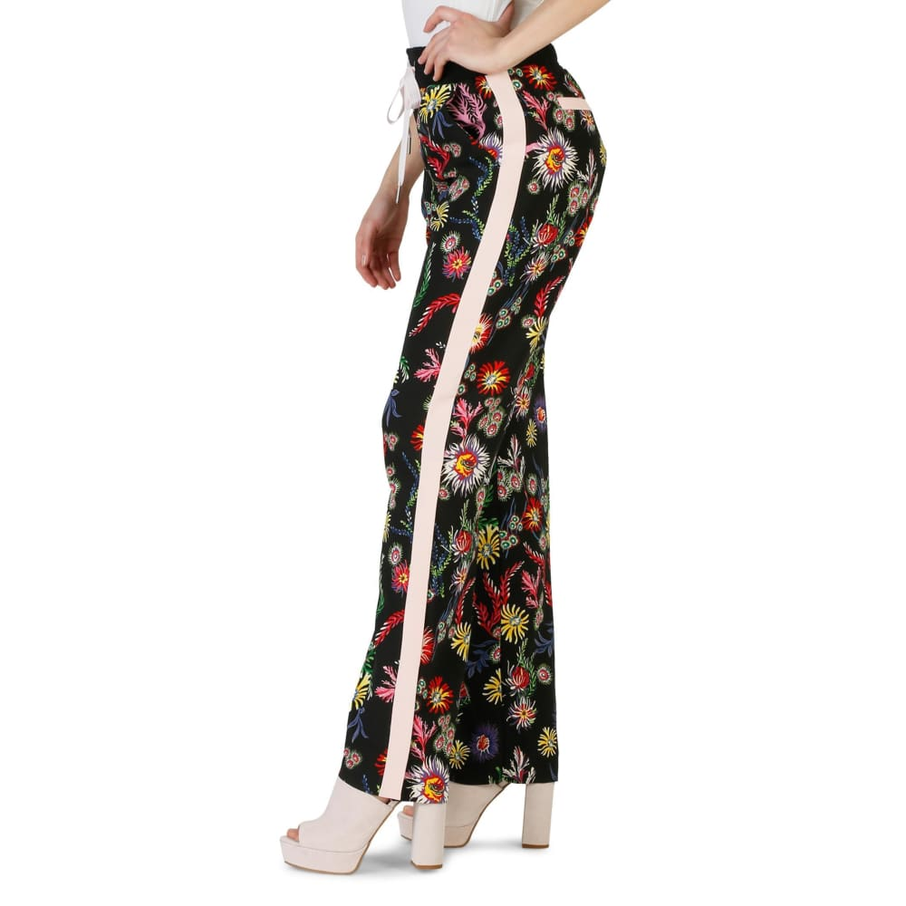 Pinko Black & Flower Print Trousers - Clothing Trousers