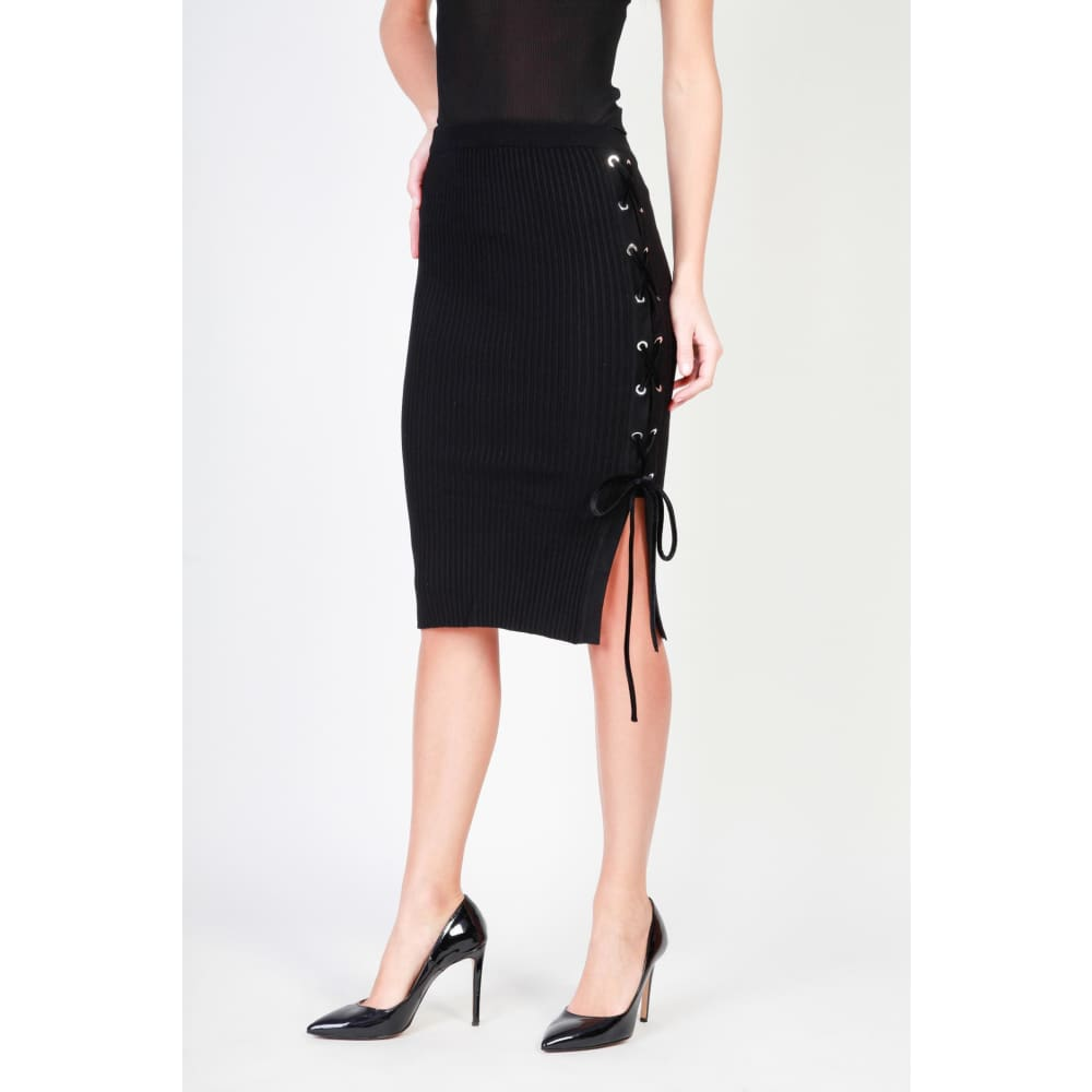 Pinko Black Knit Skirt - Black / Xs - Clothing Skirts