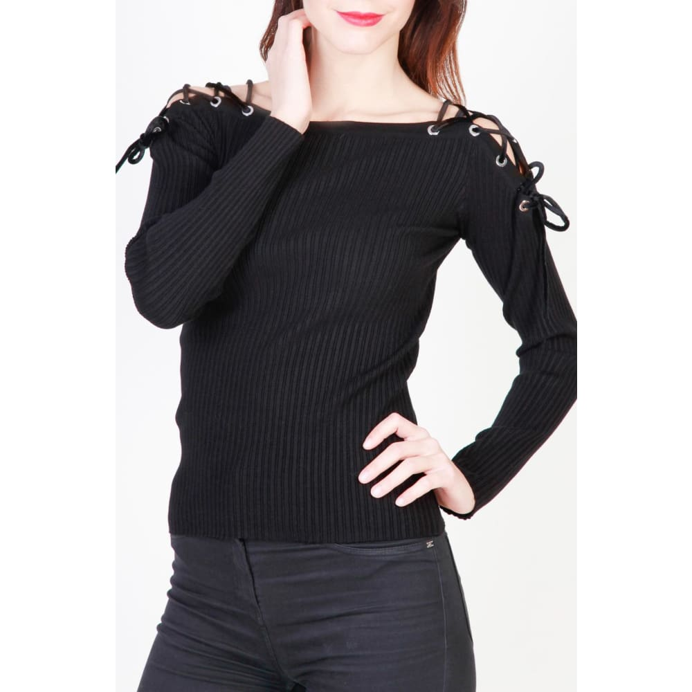 Pinko Black Velvet Lace Top - Black / Xs - Clothing Sweaters