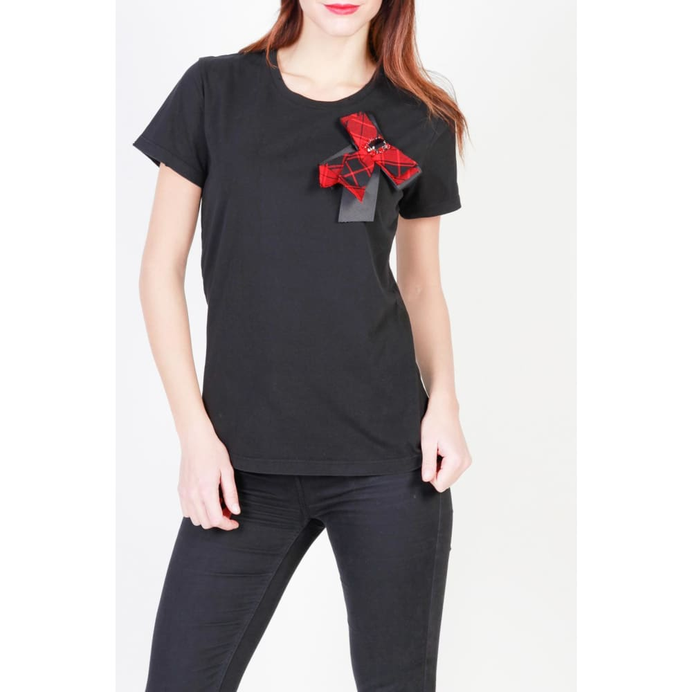 Pinko Bow T-Shirts - Black / S - Clothing T-Shirts