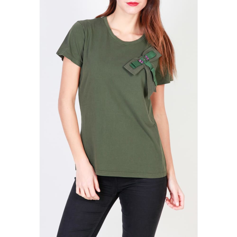 Pinko Bow T-Shirts - Green / S - Clothing T-Shirts