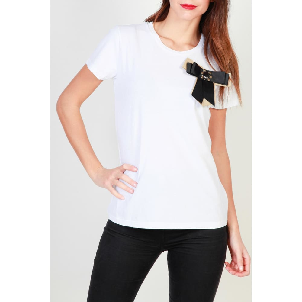 Pinko Bow T-Shirts - White / L - Clothing T-Shirts