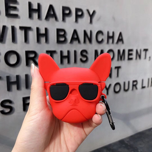French bulldog shape airpod case - red colour