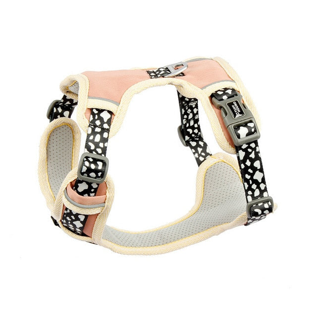 Pink Rocks Pattern French Bulldog Harness