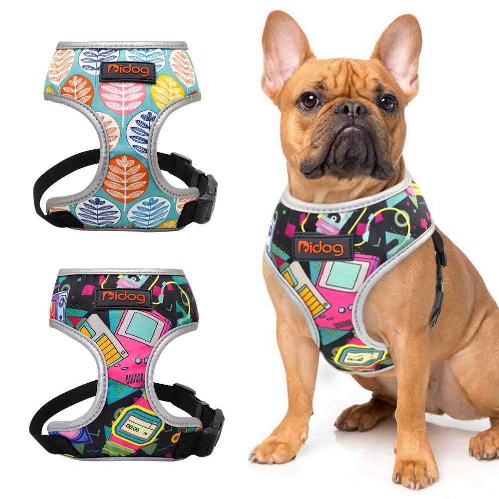 Back to the future and funky leaves pattern french bulldog harness