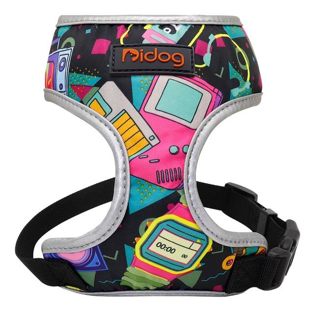 Back to the future pattern french bulldog harness - front view