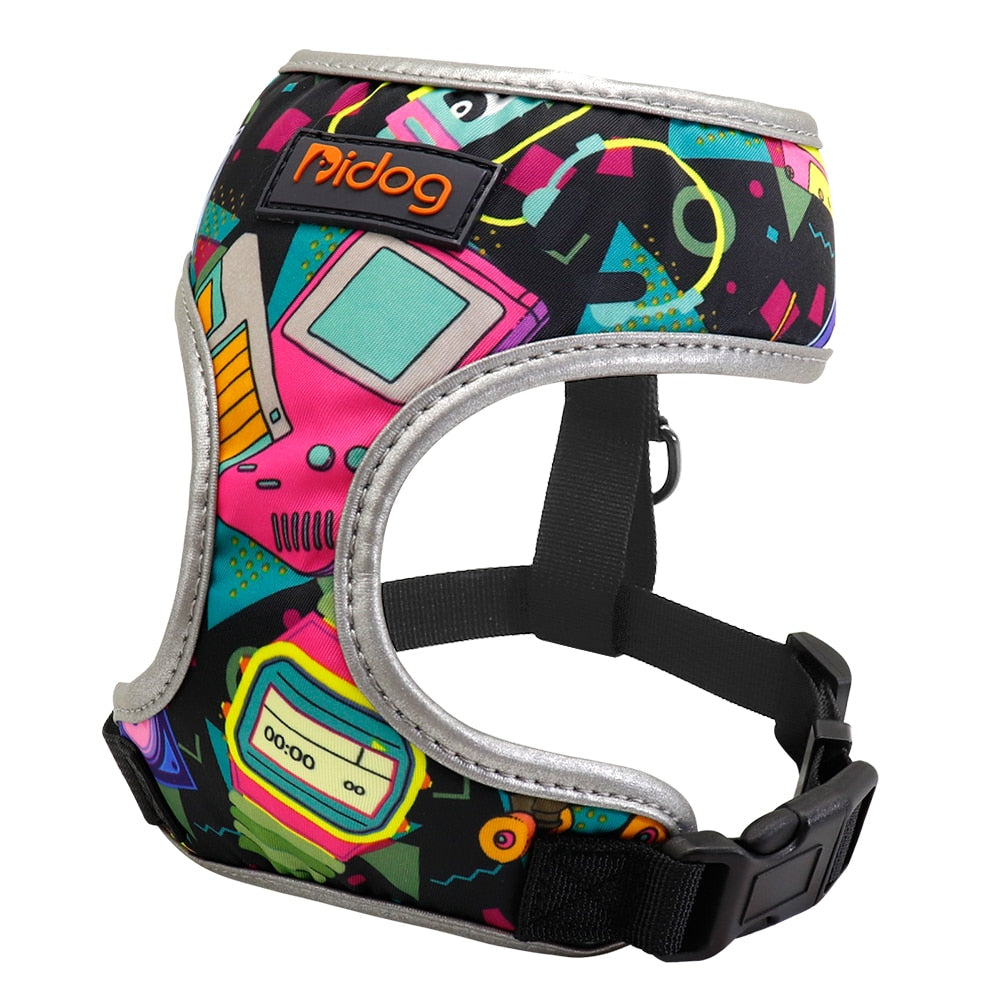 Back to the future pattern french bulldog harness - side view