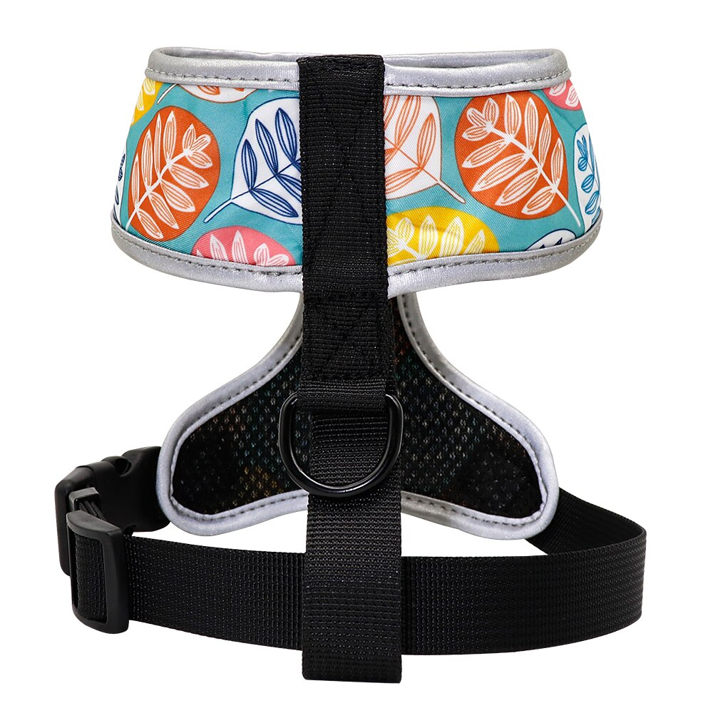 Funky leaves pattern french bulldog harness - back view