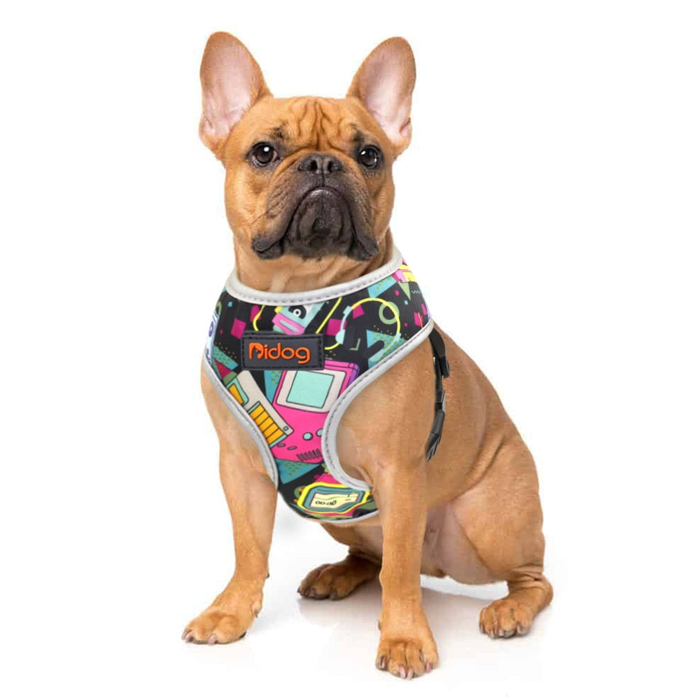 Back to the future pattern french bulldog harness - model front view