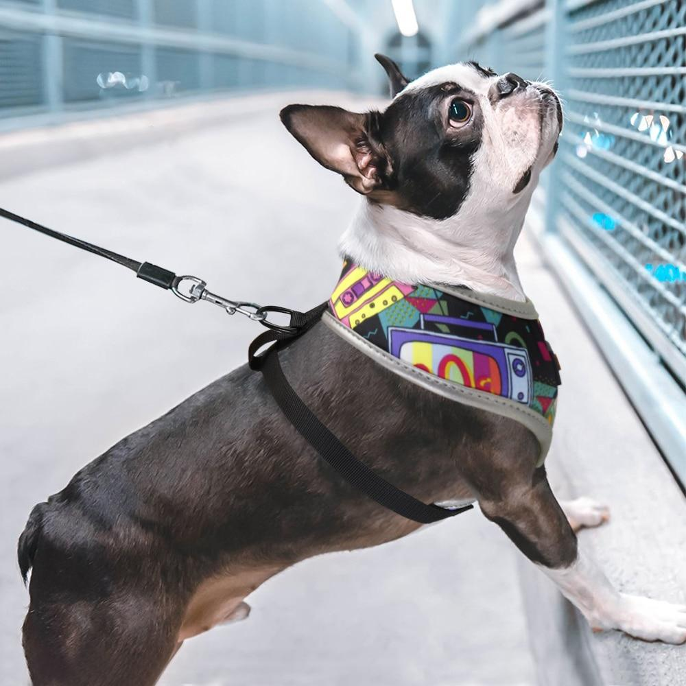 Back to the future pattern french bulldog harness - Model side view