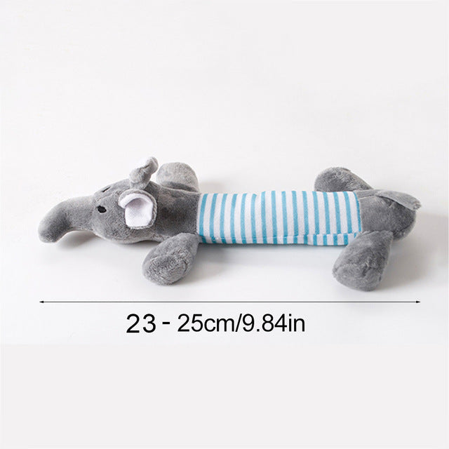 Selection of plush toys for dogs, elephant shape