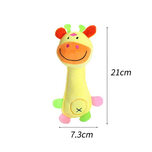 Selection of plush toys for dogs, giraffe shape