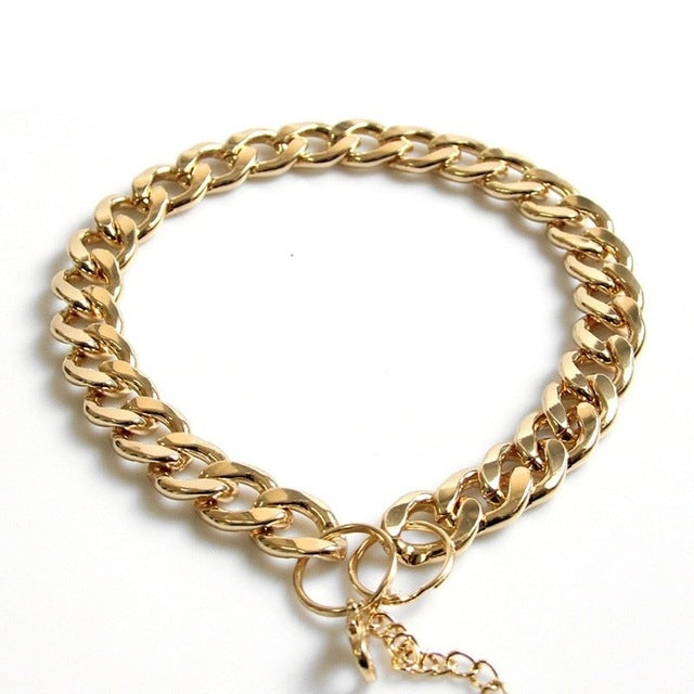 French Bulldog chain necklace, French bulldog golden chain collar