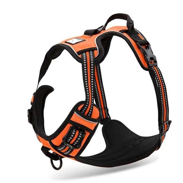 All Weather Reflective Nylon French Bulldog Harness - Orange Colour