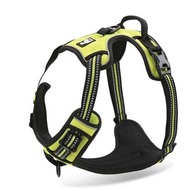 All Weather Reflective Nylon French Bulldog Harness - Neon Yellow Colour