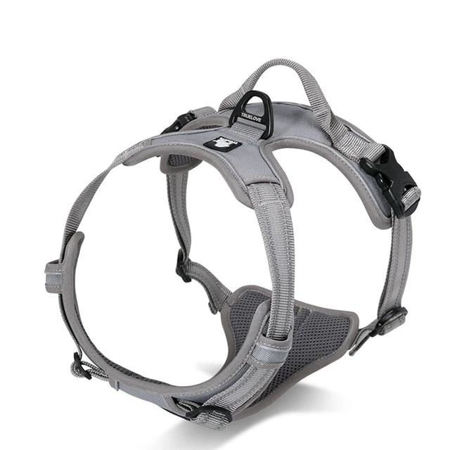 All Weather Reflective Nylon French Bulldog Harness - Gray Colour