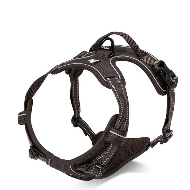 All Weather Reflective Nylon French Bulldog Harness - Brown Colour