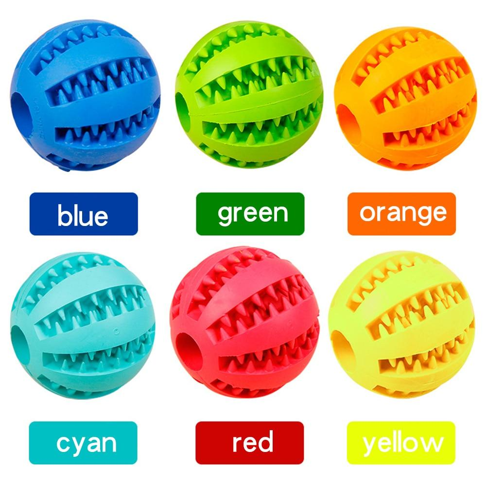 Chew dog ball toy available in variety of colours including red, yellow, orange, green, blue and cyan and various sizes