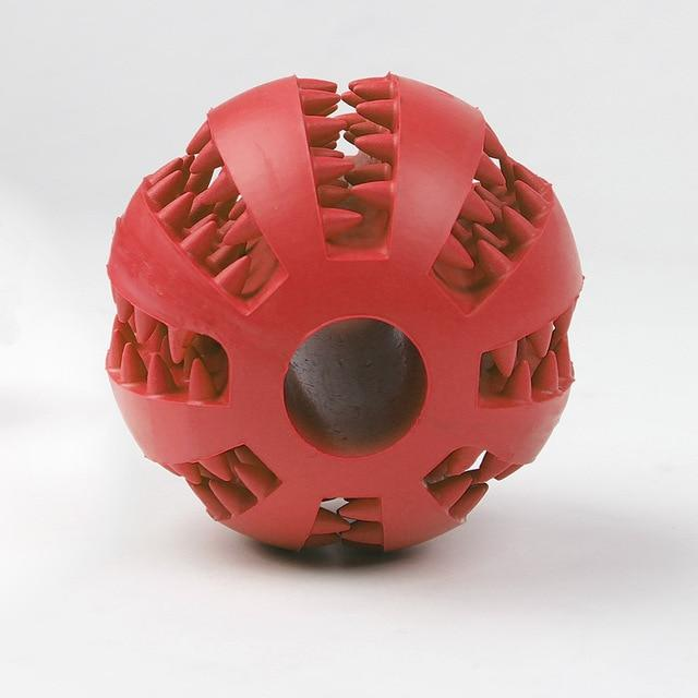 Red chew dog ball toy