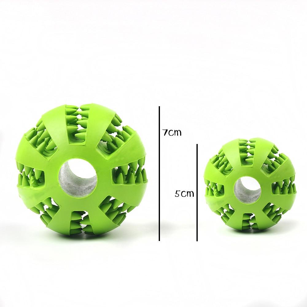 Green chew dog ball toy showing options in 7cm and 5 cm sizes, overall we got options in sizeS and L