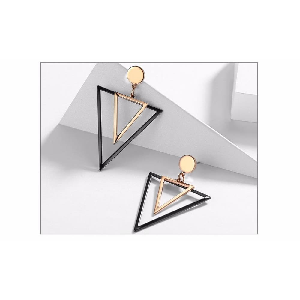 Rebel Rose Gold And Gun Colour Triangular Dangle Earrings - Earrings