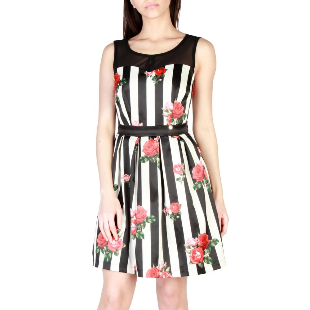 Rinascimento Red Rose Stripe Dress - White / Xs - Clothing Dresses