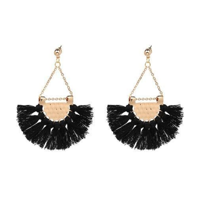 Sylvies Bohemia Flamenco Tassel Earrings - Black - Earrings