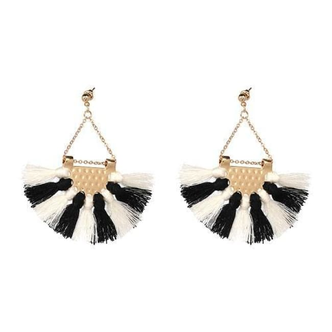 Sylvies Bohemia Flamenco Tassel Earrings - Black White - Earrings