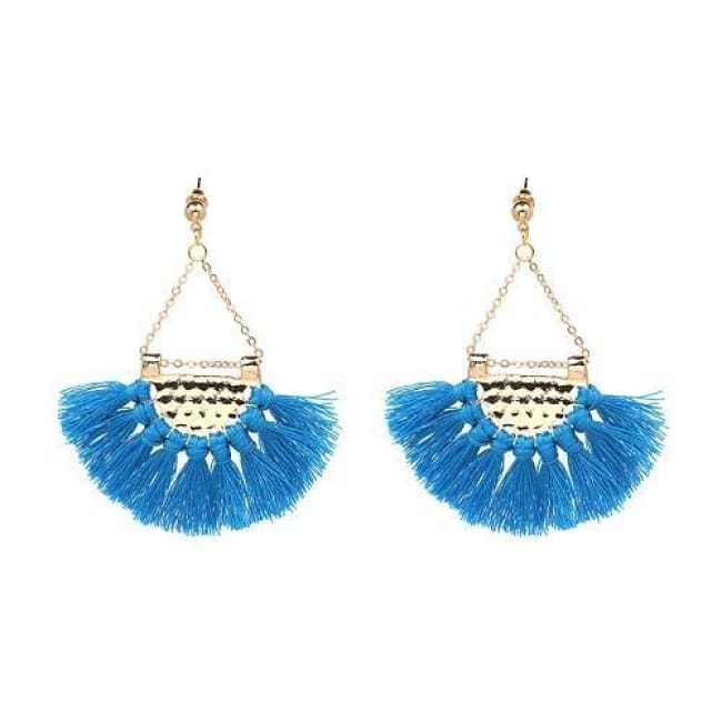 Sylvies Bohemia Flamenco Tassel Earrings - Blue - Earrings