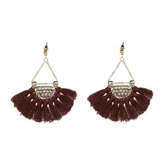 Sylvies Bohemia Flamenco Tassel Earrings - Brown - Earrings