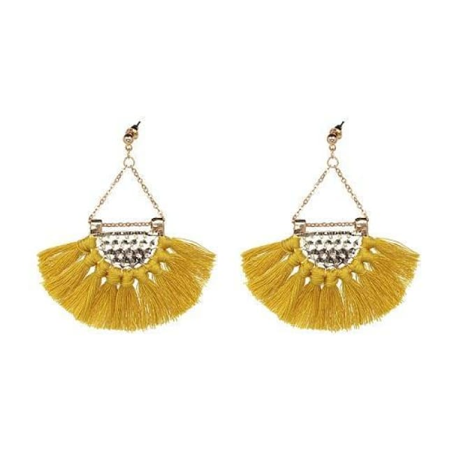 Sylvies Bohemia Flamenco Tassel Earrings - Deep Yellow - Earrings