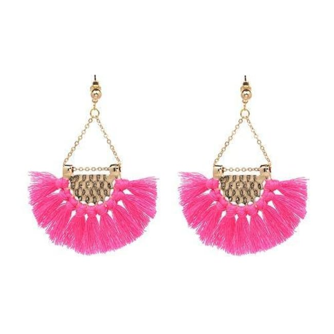 Sylvies Bohemia Flamenco Tassel Earrings - Hot Pink - Earrings