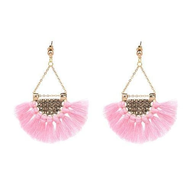 Sylvies Bohemia Flamenco Tassel Earrings - Pink - Earrings