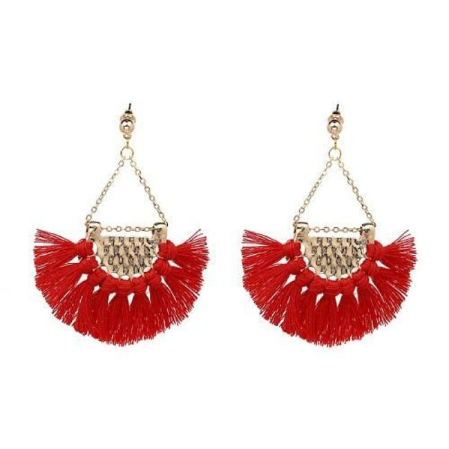 Sylvies Bohemia Flamenco Tassel Earrings - Red - Earrings