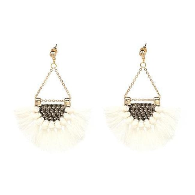 Sylvies Bohemia Flamenco Tassel Earrings - White - Earrings