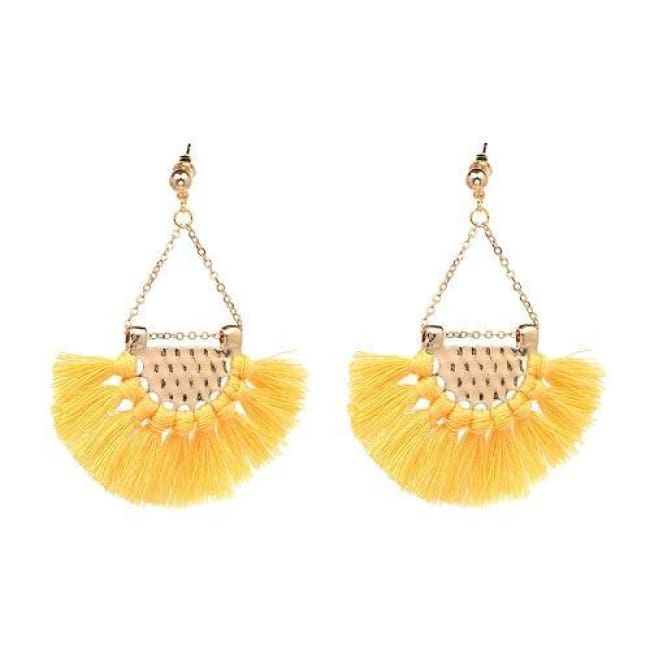 Sylvies Bohemia Flamenco Tassel Earrings - Yellow - Earrings
