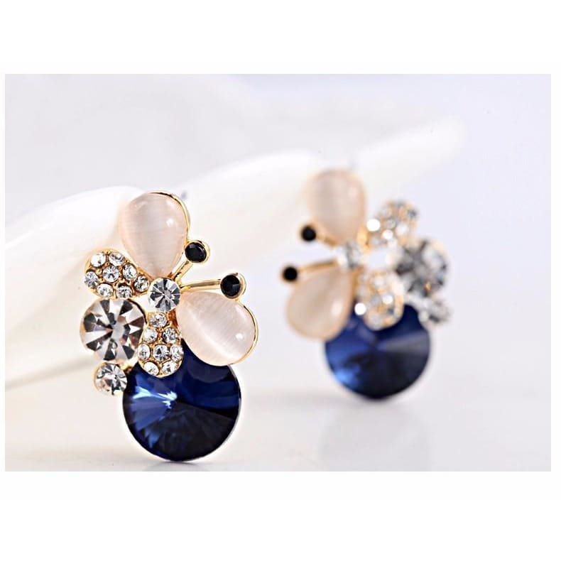 Sylvies Butterfly Crystal Stud Earrings - E011 Blue - Earrings