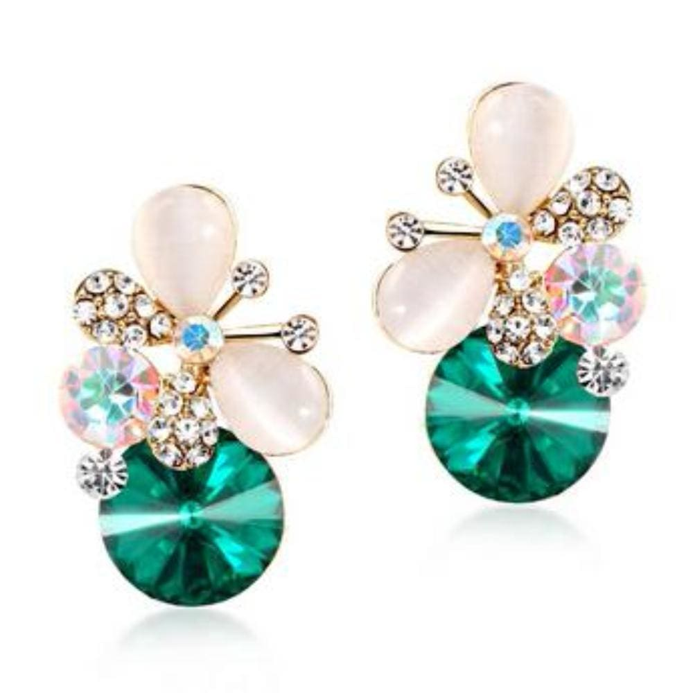 Sylvies Butterfly Crystal Stud Earrings - E011 Green - Earrings