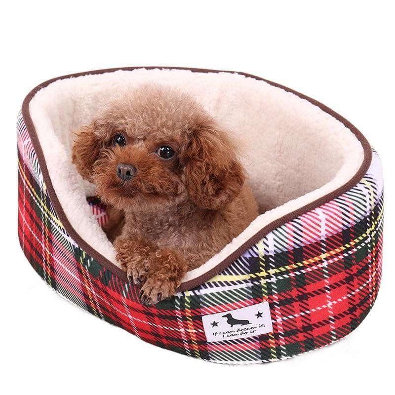 Tartan Style Print Dog Bed - Dog Bed