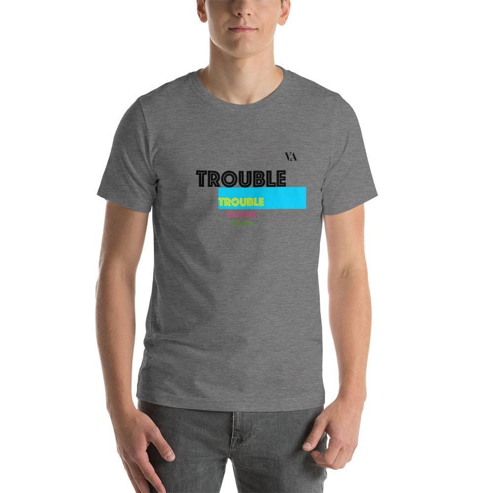 Trouble Trouble Trouble Trouble Mens T-Shirt - Deep Heather / S - Tshirt