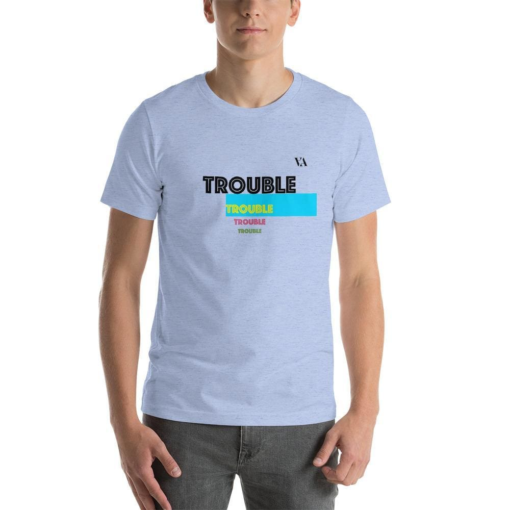 Trouble Trouble Trouble Trouble Mens T-Shirt - Heather Blue / S - Tshirt