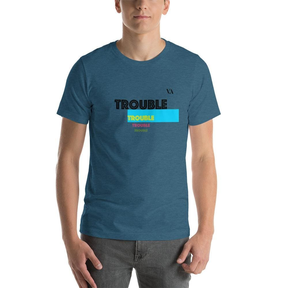 Trouble Trouble Trouble Trouble Mens T-Shirt - Heather Deep Teal / S - Tshirt