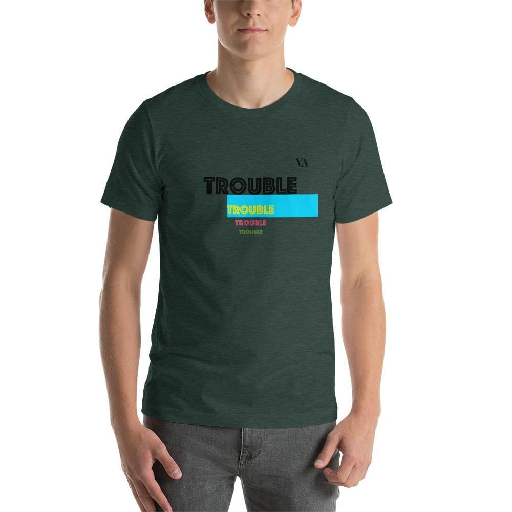 Trouble Trouble Trouble Trouble Mens T-Shirt - Heather Forest / S - Tshirt