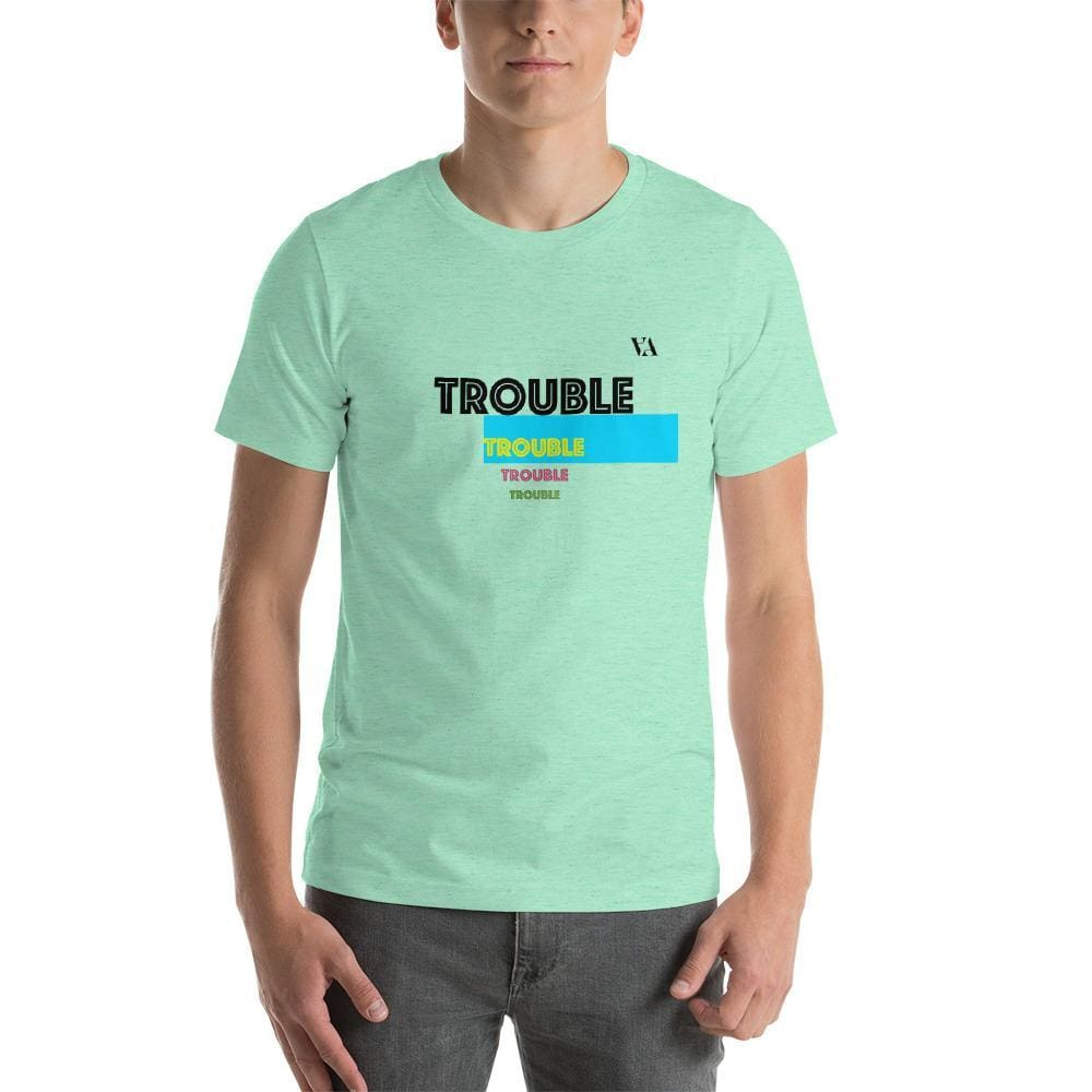 Trouble Trouble Trouble Trouble Mens T-Shirt - Heather Mint / S - Tshirt