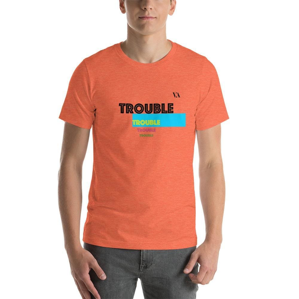 Trouble Trouble Trouble Trouble Mens T-Shirt - Heather Orange / S - Tshirt