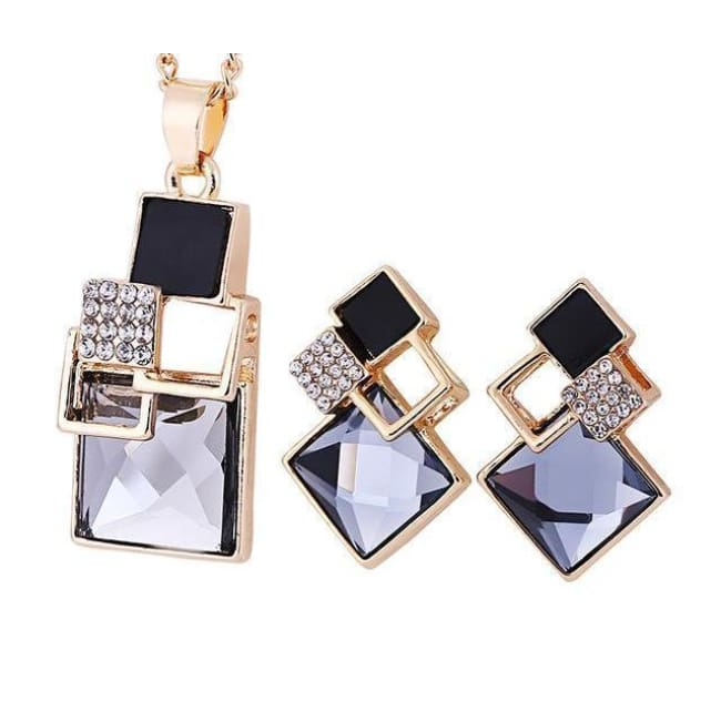 Victorias Vintage Shape Geometric Crystal Pendant With Stud Earrings - T012 Gold Black - Earrings
